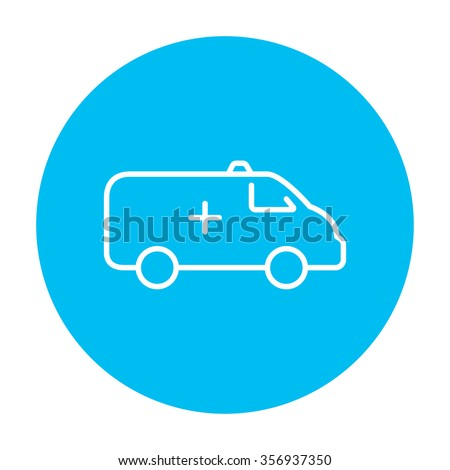 Ambulance car line icon for web, mobile and infographics. Vector white icon on the light blue circle isolated on white background. - stock vector