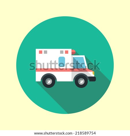 Ambulance car long shadow flat design icon. Vector illustration. - stock vector