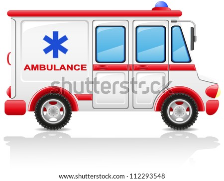 ambulance car vector illustration isolated on white background - stock vector