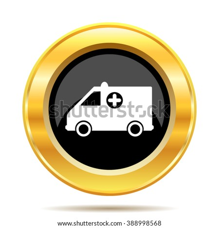 Ambulance icon. Internet button on white background. EPS10 vector. - stock vector