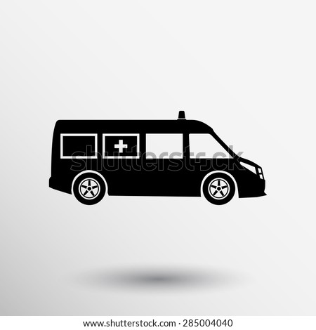 ambulance icon vector medical urgent first relief technician. - stock vector