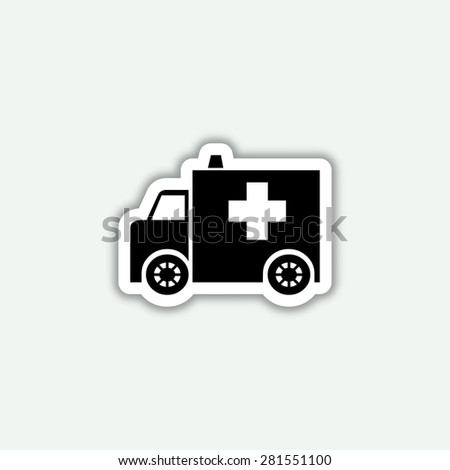ambulance icon - vector sticker - stock vector