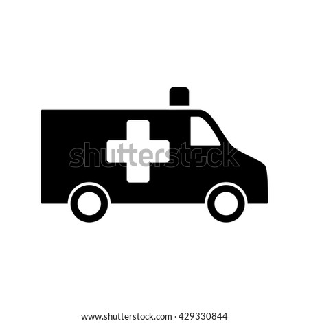 ambulance medical van icon black on white background - stock vector