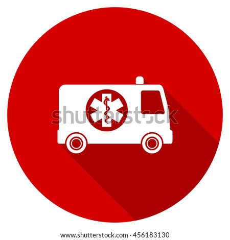 ambulance red vector icon, circle flat design internet button, web and mobile app illustration - stock vector