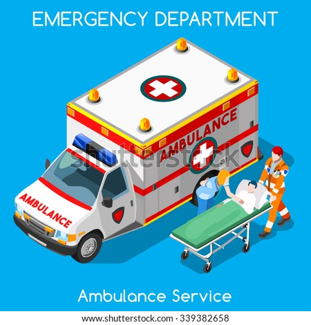 Ambulance Service Clinic Emergency Department Infographics. First Aid Patient on Stretcher Visiting by Nurse Medical Staff. Healthcare Clinic Emergency Hospital 3D Flat Isometric People Vector Image. - stock vector