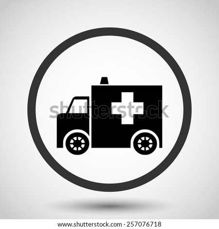 Ambulance vector icon - black illustration - stock vector