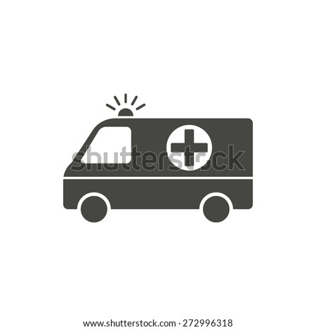 Ambulance - vector icon in black on a white background. - stock vector