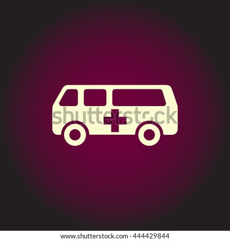 Ambulance. White vector icon on dark background. Flat pictogram - stock vector