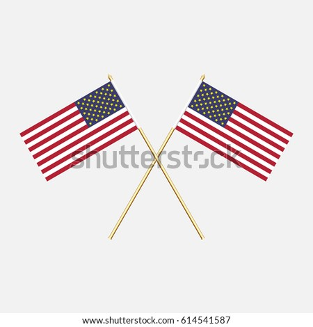 America; America  Flags. Vector illustration.