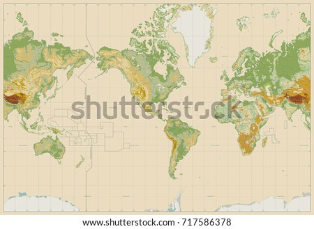 Physical world map america centered bathymetry vectores en stock america centered physical world map on retro white no text vector illustartion gumiabroncs Image collections