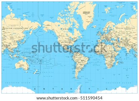 Physical world map retro colors labeling vectores en stock 612379400 america centered world map highly detailed vector illustration of physical world map gumiabroncs Gallery
