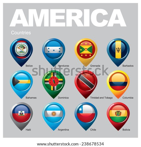 AMERICA Countries - Part Three - stock vector