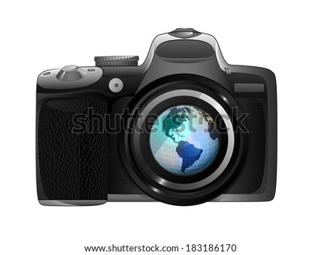 America earth globe in camera focus ready to snapshot isolated vector illustration