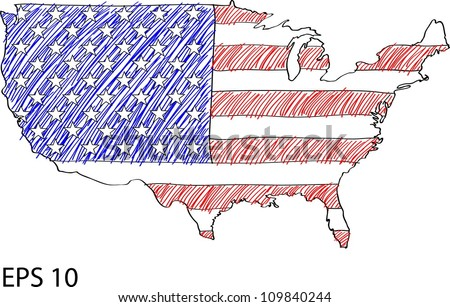 America Flag Map Vector Sketch Up in USA, EPS 10. - stock vector