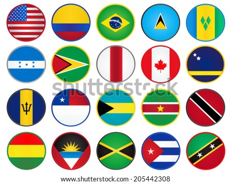 America Flags Circle Buttons - stock vector