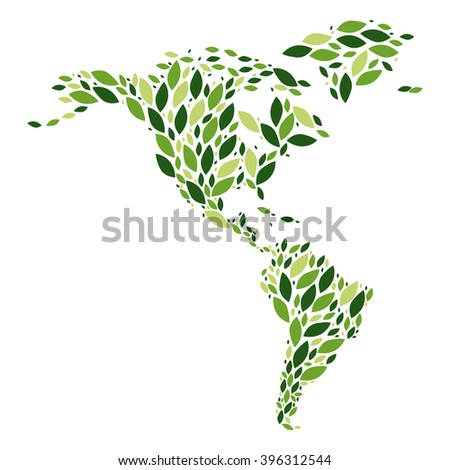 America go green map - stock vector