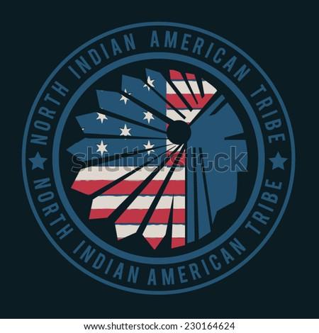 America indian typography, t-shirt graphics, vectors - stock vector