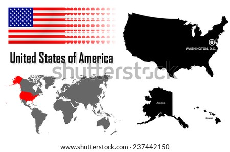 America info graphic with flag , location in world map, Map and the capital ,Canberra, location.(EPS10 Separate part by part) - stock vector