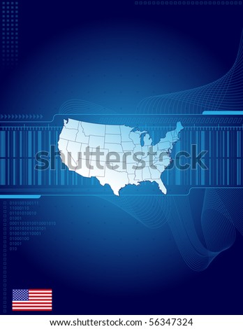 America map and flag on the blue abstract background - stock vector