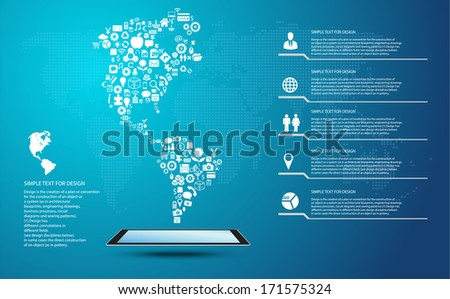 America map, Icon shape infographic with global communication icons  - stock vector