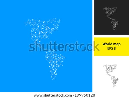 America Map Illustration with people, easy all editable - stock vector