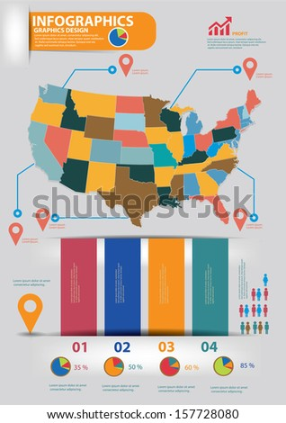America map,Infographics design,vector - stock vector