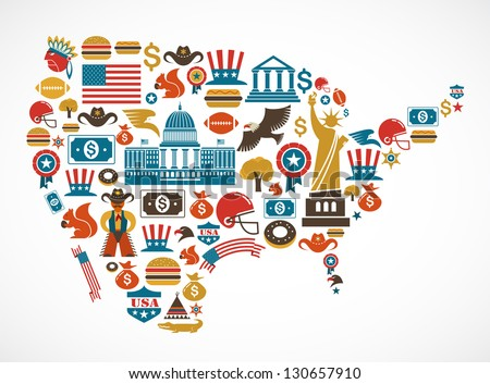 America map with many vector icons - stock vector