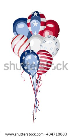 America National Holiday vector design element. Independence or presidents or memorial Day. 4th of July. Bunch of balloons with american flag elements. USA national celebration vector design. - stock vector