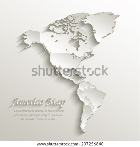 America political map card paper 3D natural vector individual states separate  - stock vector