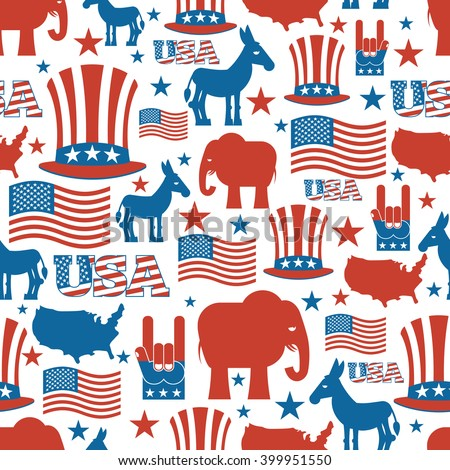 Usa Election Symbols National Uncle Sam Hat American Flag And
