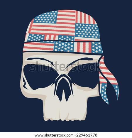 America   skull illustration t-shirt graphics, vectors - stock vector