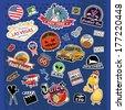 America. Stickers and Symbols. Mix set 1 - stock vector