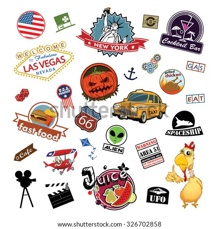America. Stickers and Symbols on a white background
