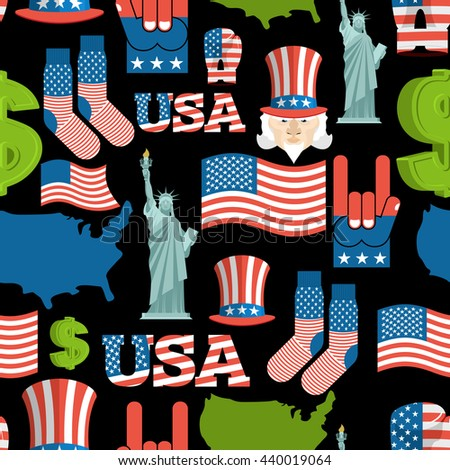 America symbols patriotic pattern. USA national ornament. State traditional background. Map of country and United States flag. Statue of Liberty and Uncle Sam. Dollar and  star.