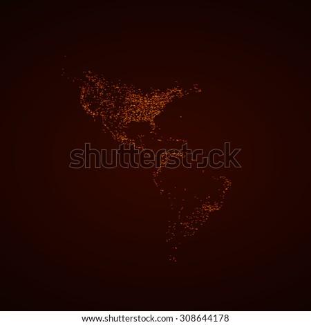 America USA light map easy all editable - stock vector