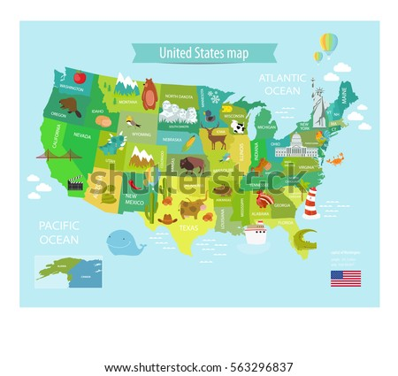Cartoon Map Stock Images RoyaltyFree Images Vectors Shutterstock - Us map cartoon