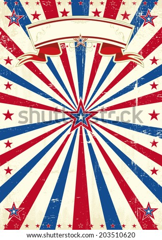 America vintage background. A vintage tricolor poster with sunbeams and a texture - stock vector