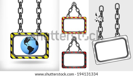 America world globe on chain hanged board collection vector illustration - stock vector