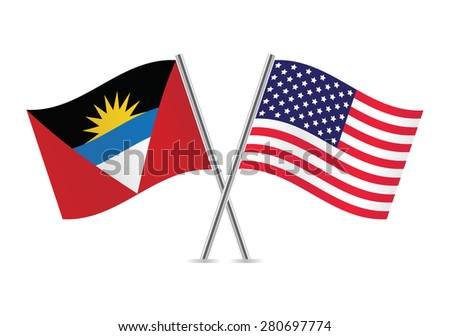 American and Antigua and Barbuda flags. Vector illustration. - stock vector