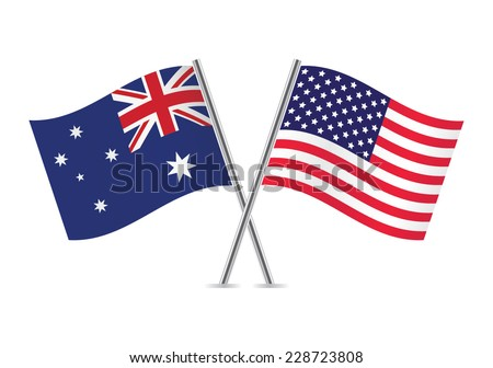 American and Australian flags. Vector illustration. - stock vector