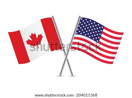 American and Canadian flags. Vector illustration. - stock vector
