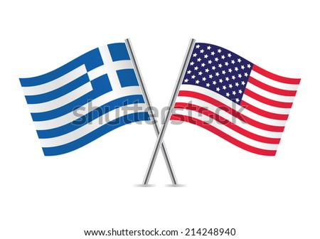 American and Greek flags. Vector illustration.