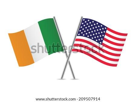American and Irish flags. Vector illustration. - stock vector
