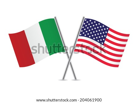American and Italian flags. - stock vector