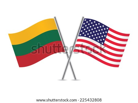 American and Lithuanian flags. Vector illustration. - stock vector