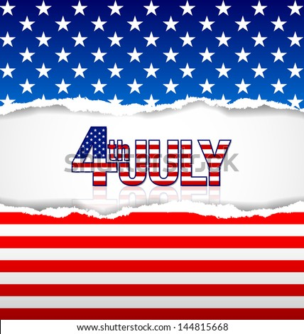 American background made of torn papers with 4th july title - stock vector