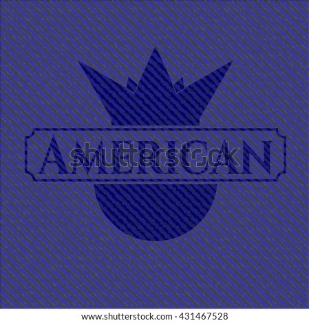 American badge with jean texture - stock vector