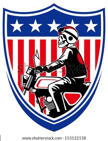 american biker - stock vector