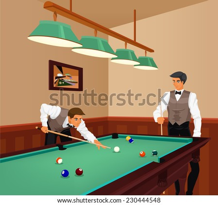 American billiards competition. Two young men play game of billiards in hall. Color vector graphic.  - stock vector