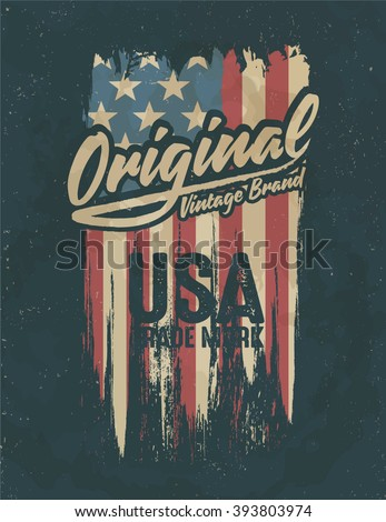 american broken flag / vintage flag design / original tee print design - stock vector